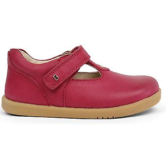 Bobux I-walk Girls Louise T-bar Shoes Dark Pink
