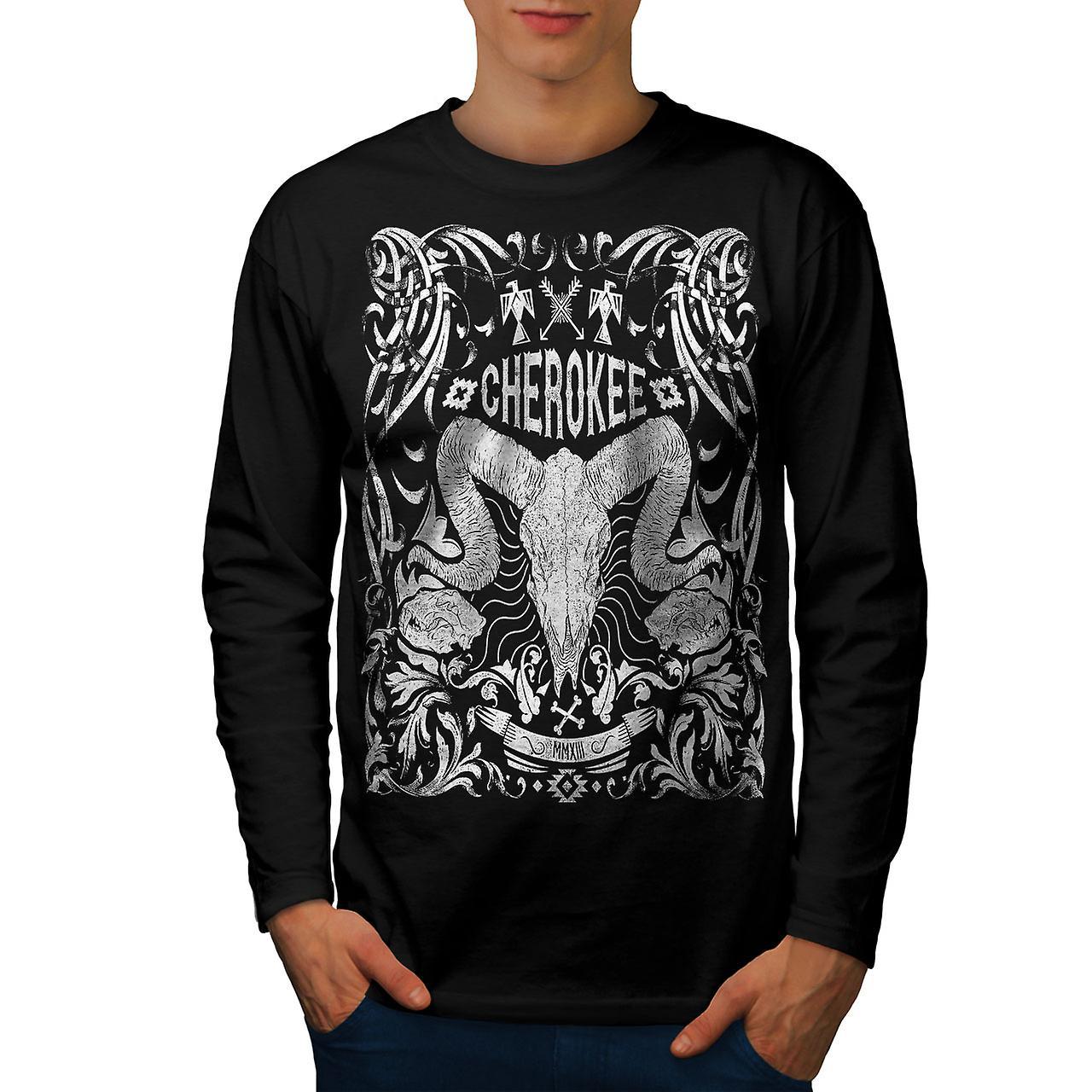 Crâne Cherokee hommes Vintage noir manches longues T-shirt | Wellcoda