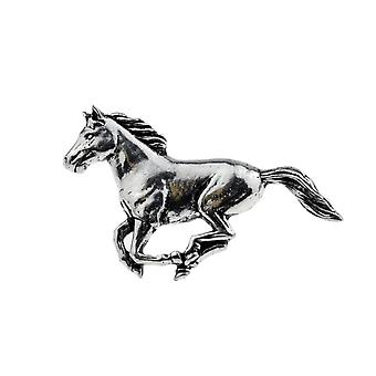 Running Horse English Pewter Lapel Pin Badge