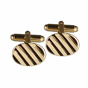 Hard gold plated 12x17mm oval lined swivel Cufflinks