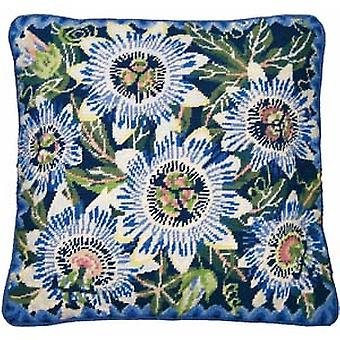 Blue Passion Flowers Needlepoint Canvas