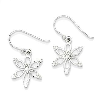 925 Sterling Silver Shiny Snowflake Dangle Earrings