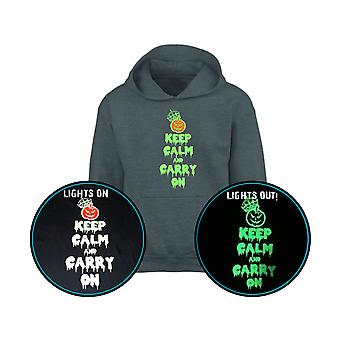 Mantenere la calma & trasportare su GLOW IN THE DARK Halloween Kids Hoodie 10 colori (S-XL) da swagwear
