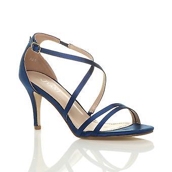 Womens Ajvani mi bas haut talon crossover strappy parti mariage bal sandales Chaussures