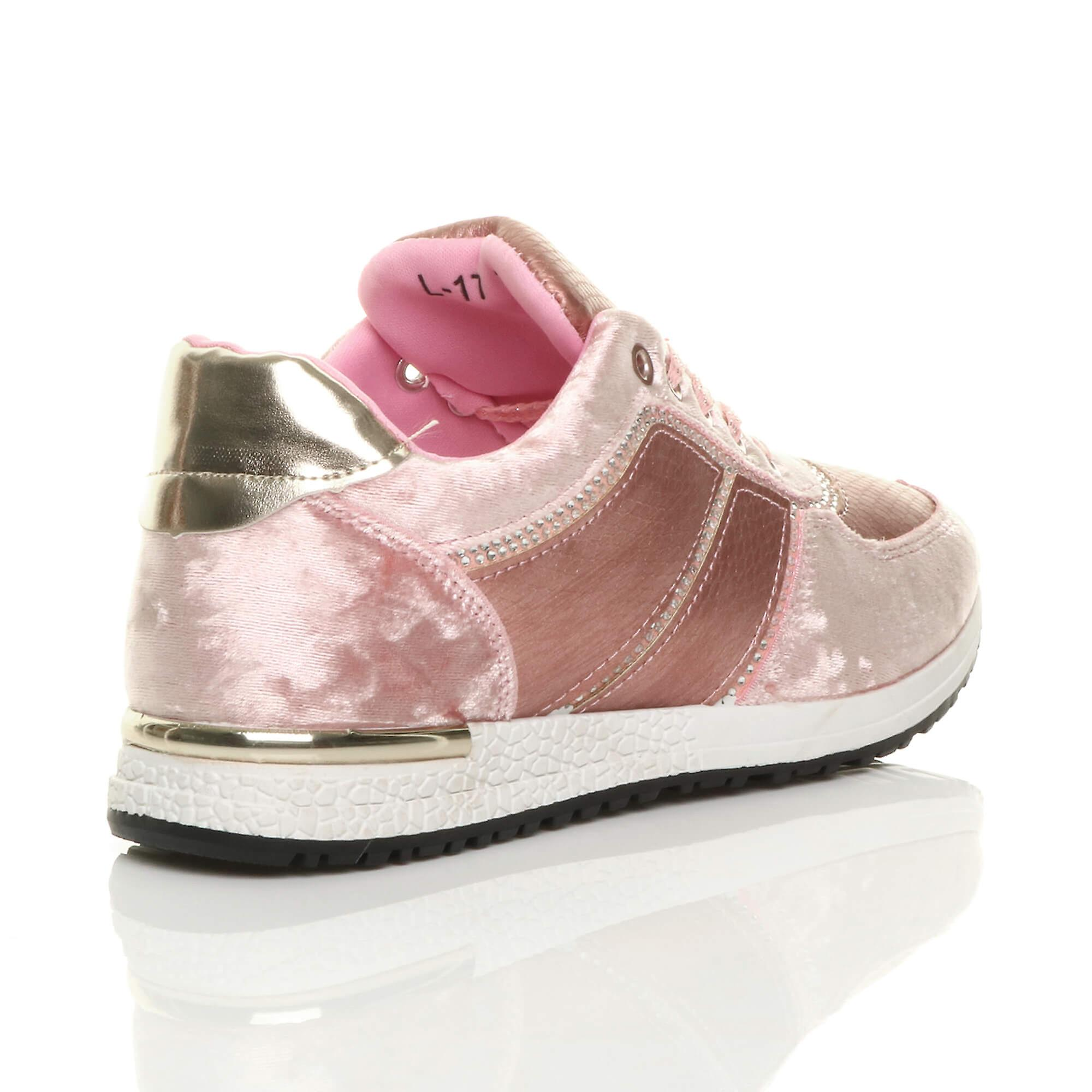 Ajvani womens heel velvet up sneakers wedge trainers lace low diamante rnBqxdA1r