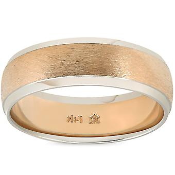 Mens Plain Wedding Band 14K Gold Two Tone Comfort Fit