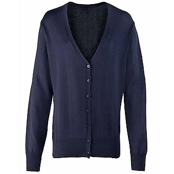 Premier Colours Ladies Button Through Knitted V Neck Cardigan Black,Navy