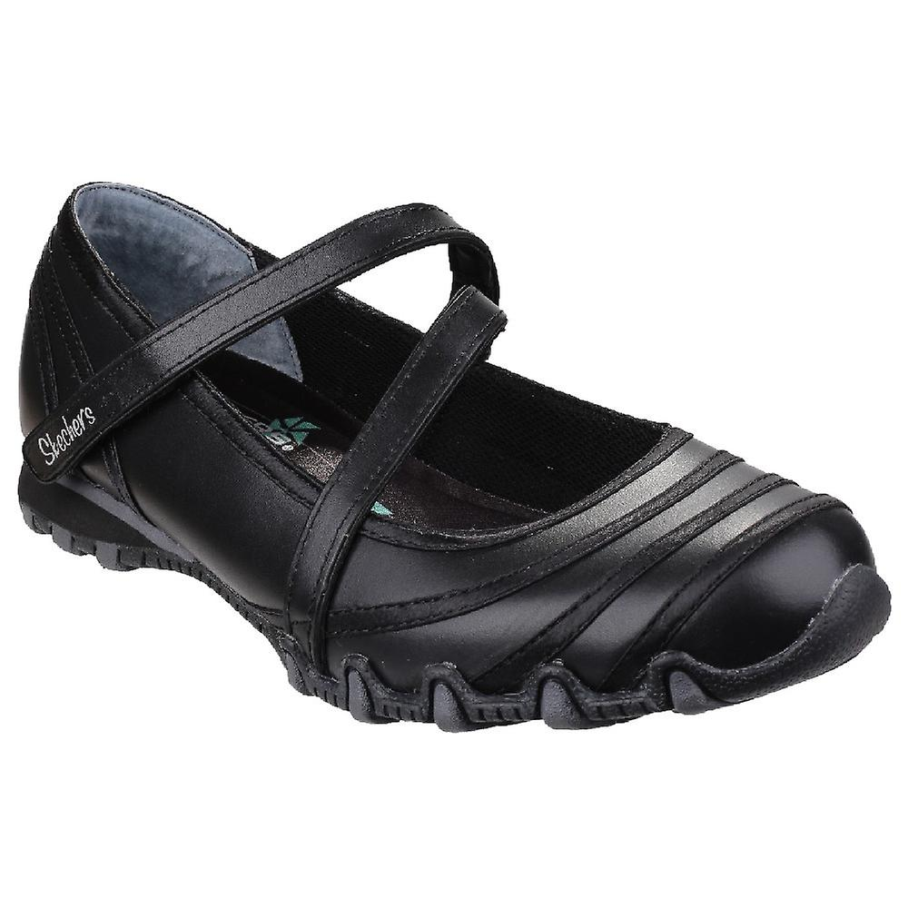 Skechers Ladies Bikers Satin Shine Casual Leather Leather Casual Mary Jane Shoe Black 534f13
