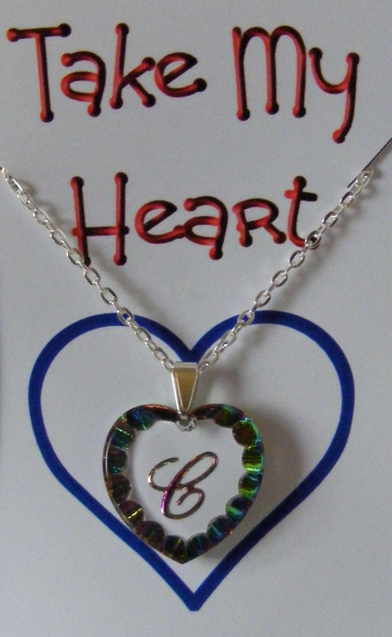 Heliotrope Initial Heart Crystal Pendant - C