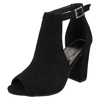 Ladies Spot On Mid Chunky Heel Covered Vamp Sandals F10832 - Black Microfibre - UK Size 8 - EU Size 41 - US Size 10
