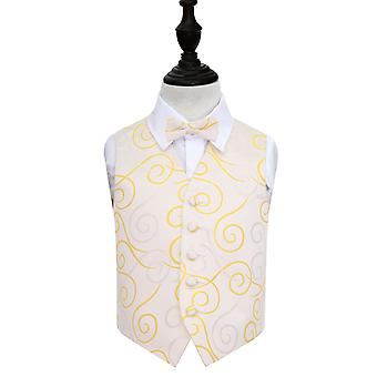 Gold Scroll Wedding Waistcoat & Bow Tie Set for Boys