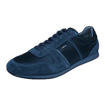 Mens Geox Trainers U Clemet A Nappa Leather Casual Shoes - Black