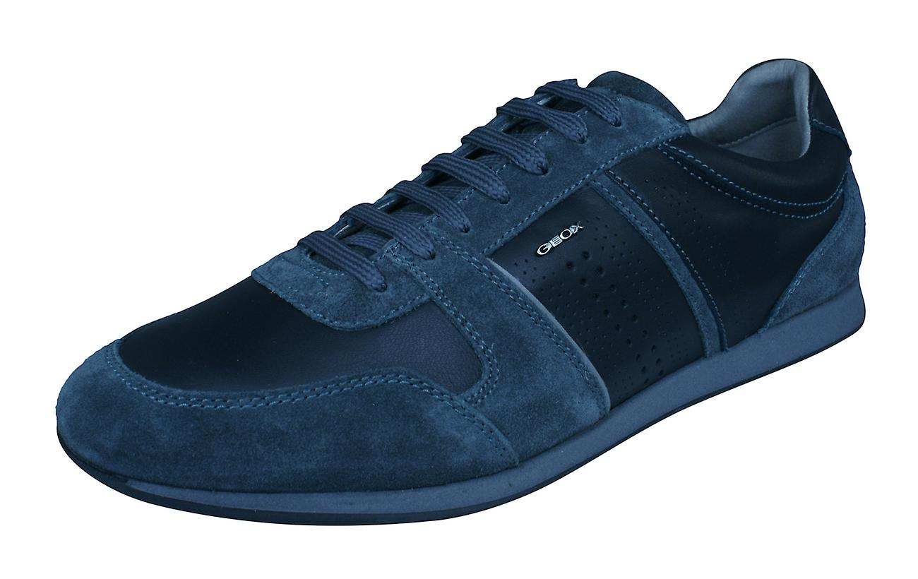 Mens Geox Trainers U Clemet A Nappa Leather Casual chaussures - noir