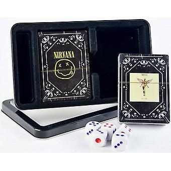 Nirvana Double Set Of 52 Playing Cards & Dice In Tin