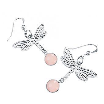 Rose Quartz Oorbellen - oorbellen - 925 Zilver - Rose Quartz - roze - 4 cm