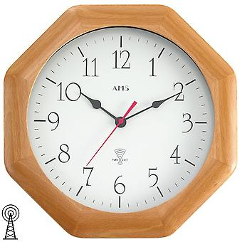 Radio controlled wall clock with wood beech modern solid mineral glass wall clock