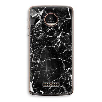 Motorola Moto Z Force Transparent Case (Soft) - Black Marble 2