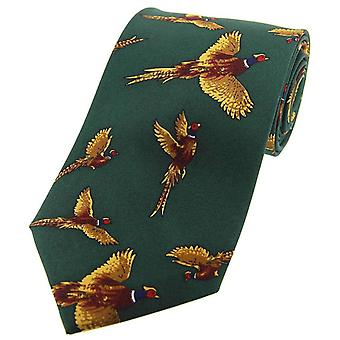 David Van Hagen Flying Pheasants Country Silk Tie - Country Green