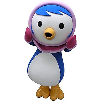 mascot blue and white Penguin with a hood SPOTSOUND rose