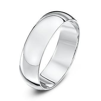 Star Wedding Rings 18ct White Gold Heavy D 6mm Wedding Ring