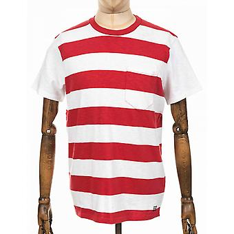 Edwin Jeans Ringer Striped Tee - White/washed Red