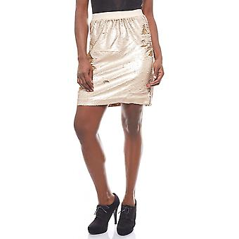 vivance collection short ladies skirt with reversible sequin gold