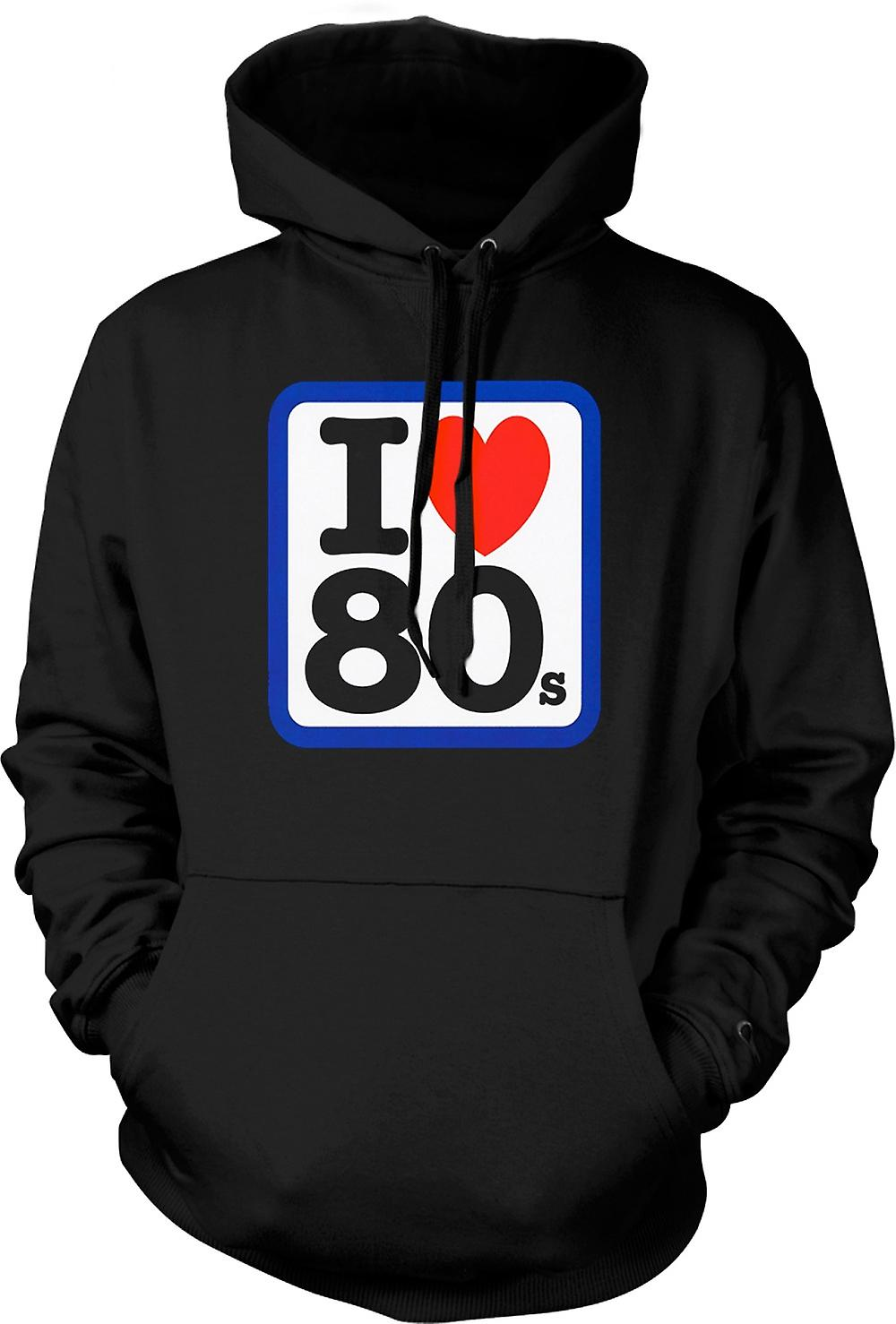 Mens Hoodie - I Love Heart The 80s - Funny