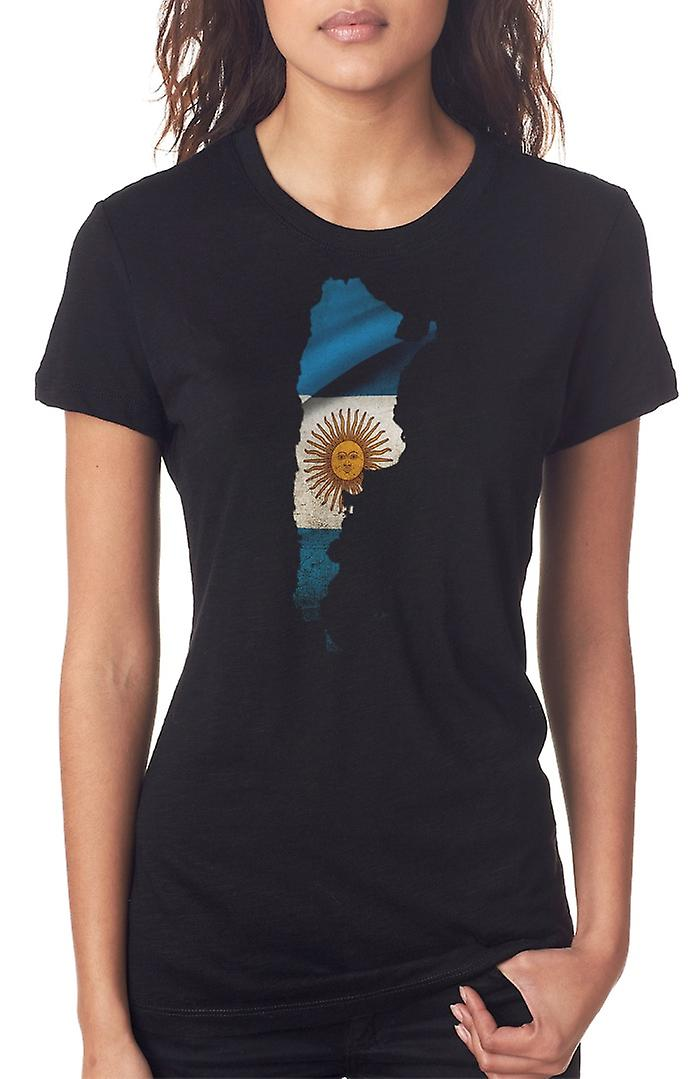 Argentinian Argentina Flag Map Ladies T Shirt