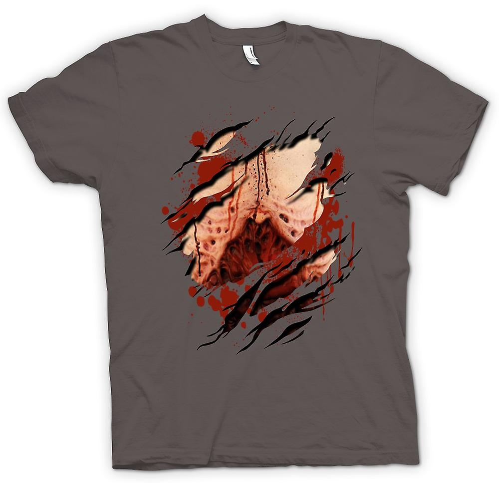 Mens T-shirt - Zombie Undead Gory Lungs Ripped Design