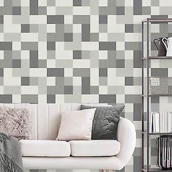 Fd42391 Elegant Cube Pattern Grey Silver Heavyduty Wallpaper 10.05x0.52M