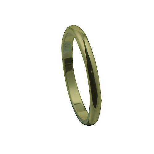 9ct Gold 2mm plain D shaped Wedding Ring Size M