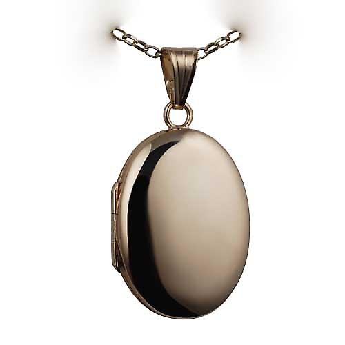 9ct Gold 27x20mm plain oval Locket with a belcher Chain 16 inches Only Suitable for Children