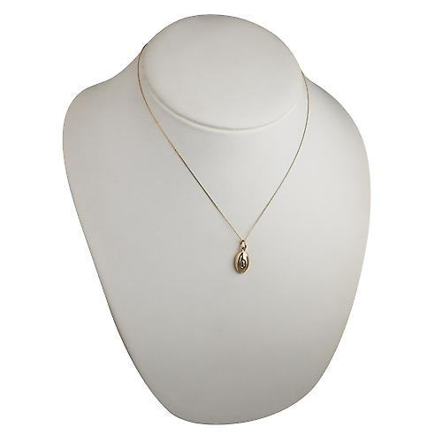 9ct Gold 17x10mm Rugby Ball Pendant with a curb Chain 18 inches