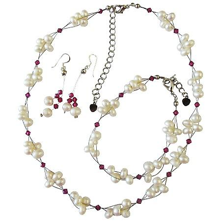 Freshwater Pearls Swarovski Fuchsia Crystals Bridal Bridesmaid Jewelry