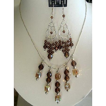 Handmade Lite Dark Topaz Crystals Bridal Sterling Siler Necklace Set