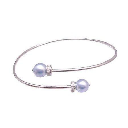Cheap Bridesmaid Jeewelry Cuff Silver Bracelet w/ Lite Blue Pearls
