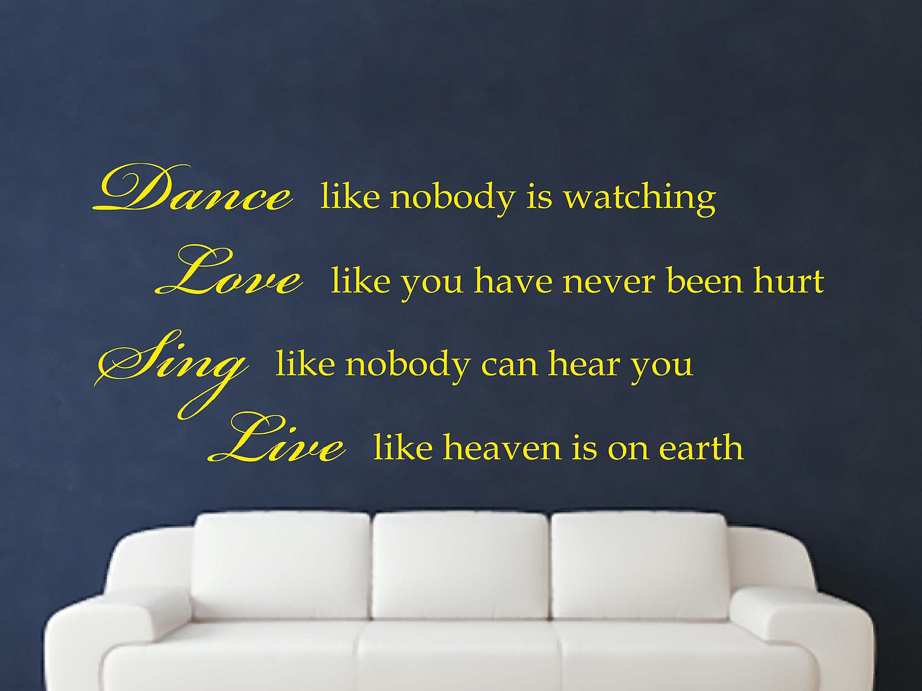 Dance Like Nobody Is Watching Wall Art Sticker - Bright Yellow
