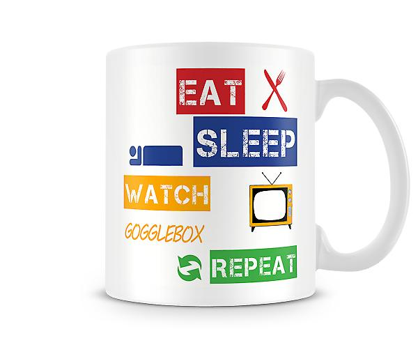 Eat, Sleep, Watch Gogglebox, Repeat Printed Mug