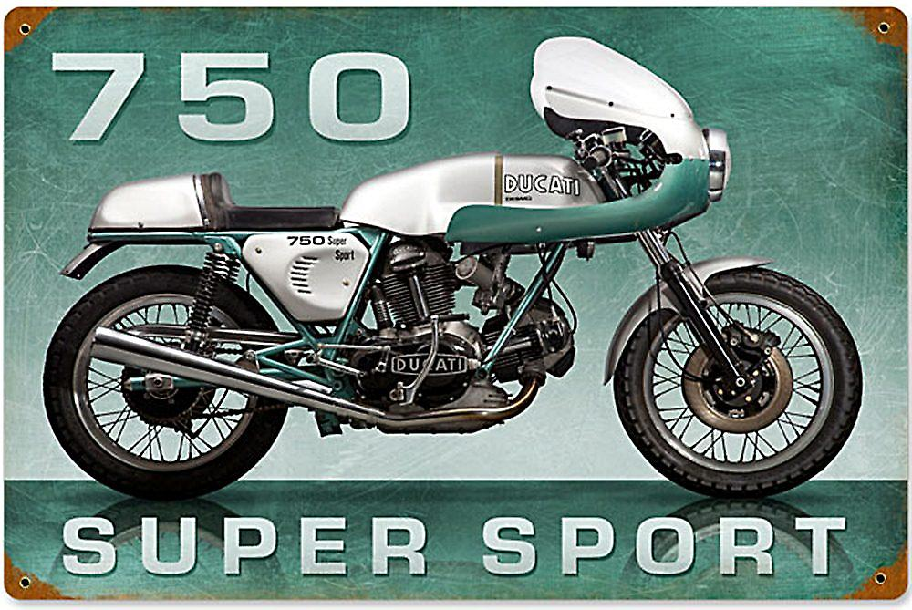 Ducati 750 Super Sport rusted steel sign  (pst 1812)