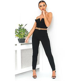 IKRUSH Womens Lottie Strapless Tie Waist Jumpsuit
