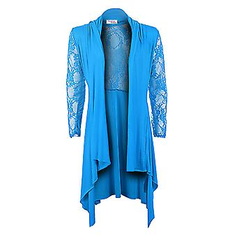 New Ladies Long Sleeve Floral Lace Mesh Waterfall Stretch Women's Cardigan Top