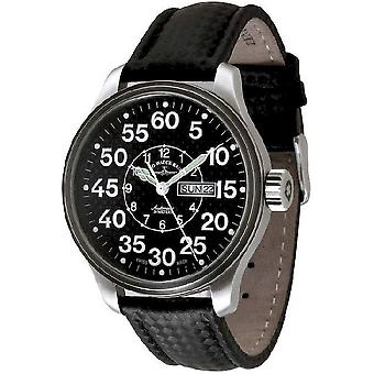 Zeno-watch mens watch oversized pilot carbon observer 8554DDOB-s1