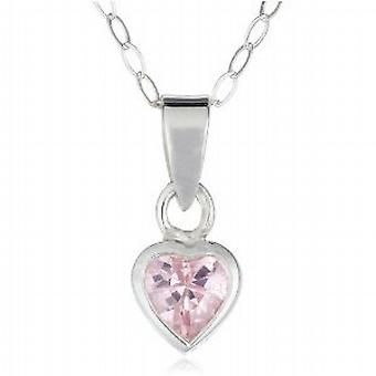 Jo For Girls Sterling Silver Pink Cz Heart Pendant on 14 Inch Chain