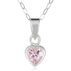 Jo For Girls Sterling Silver Pink CZ Heart Pendant Necklace 14
