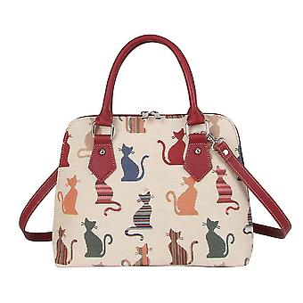 Cheeky cat top-handle shoulder bag by signare tapestry / conv-cheky