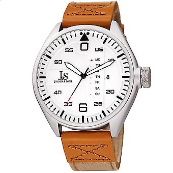 Joshua & Son's JX145SS Designer Men's Watch – Canvas Over Genuine Leather Strap with Contrast Stitching, Date and Special Day Display, Quartz Mo