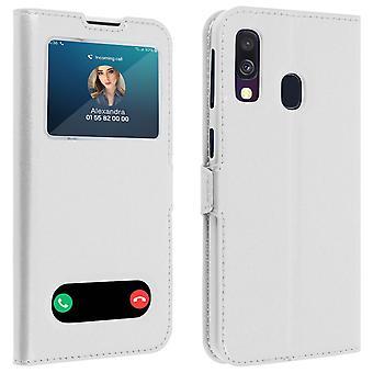 Double fenêtre Flip case debout pour Samsung Galaxy A40 avec coque TPU-blanc