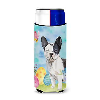 Black White French Bulldog Easter Michelob Ultra Hugger for slim cans