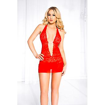 Lace Halter Dress With Deep V-neck-Red