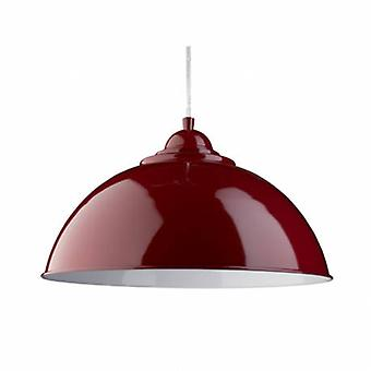 1 Light Dome Ceiling Pendant Red With Metal Shade